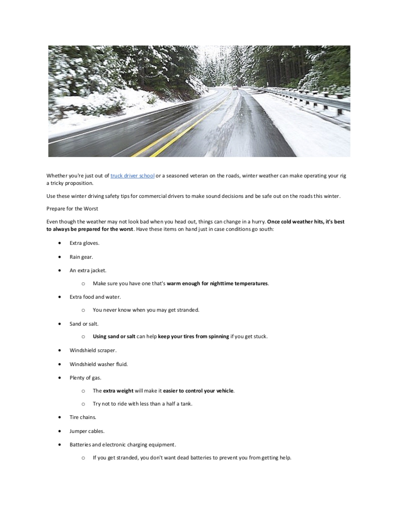 Winter Driving Page 1