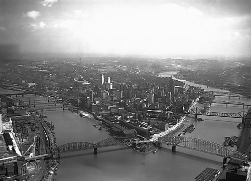 Arial view of the Point and Roland Steel in 1930